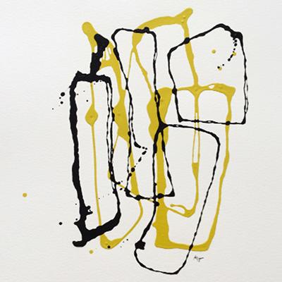 Black & Yellow sha (01) - Laque noire sur papier velin 57 x 76 cm - 2015